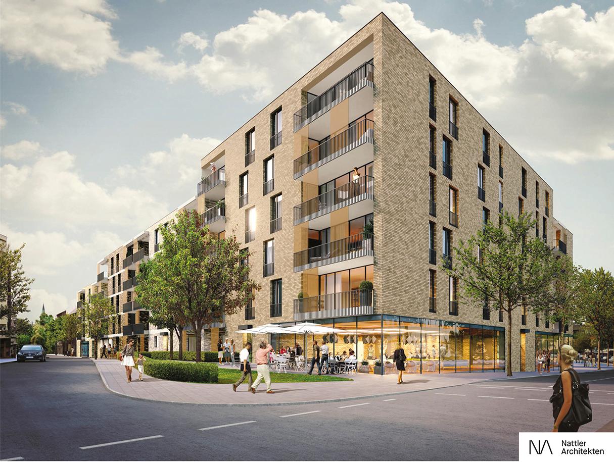 Visualisierung der Voedestraße zeigt einzelne Wohnungen und ein Backcafé im Erdgeschoss