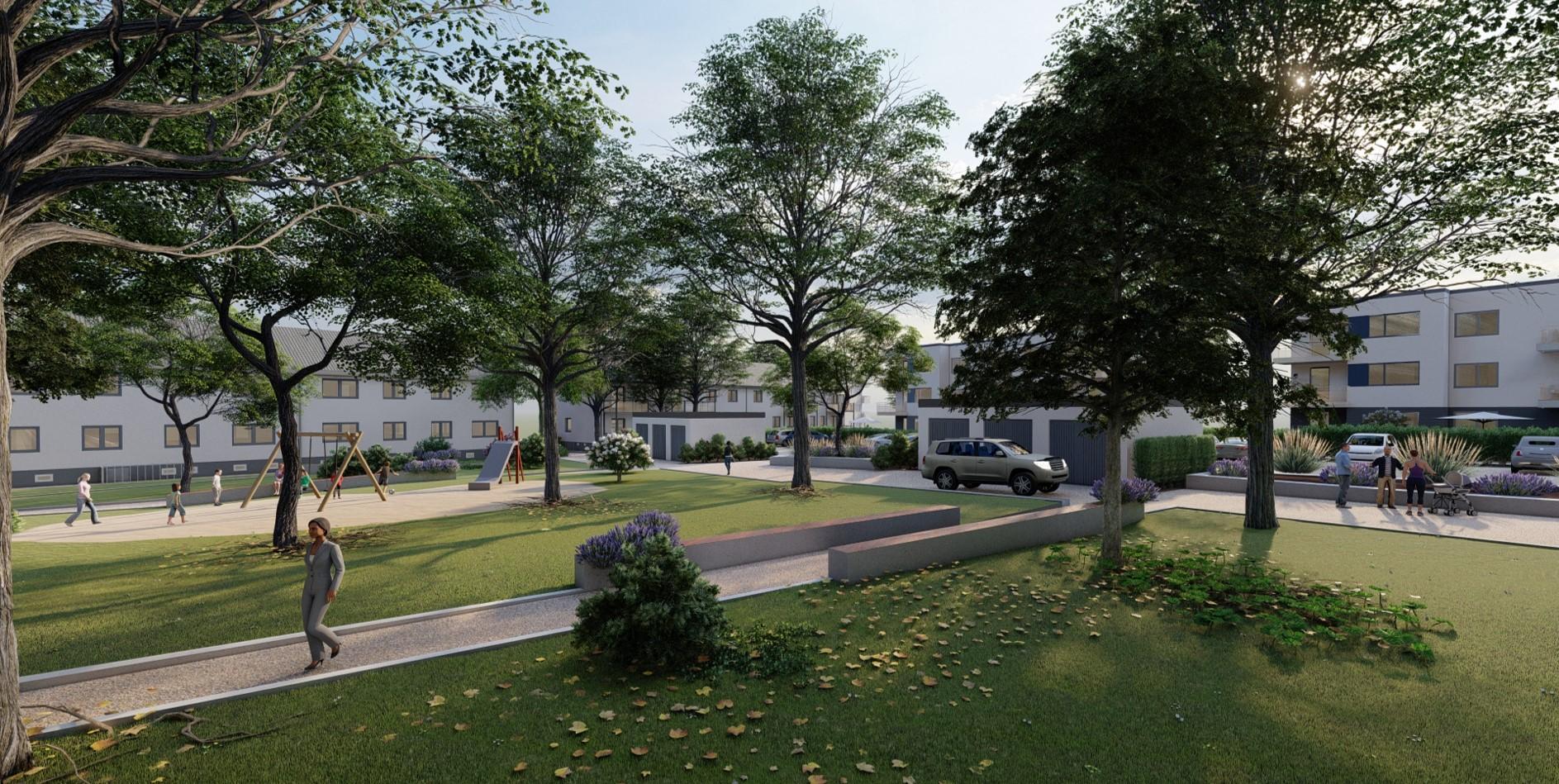 Illustration des neuen Innenhofs, im Hintergrund der modernisierte Bestand samt Neubauten